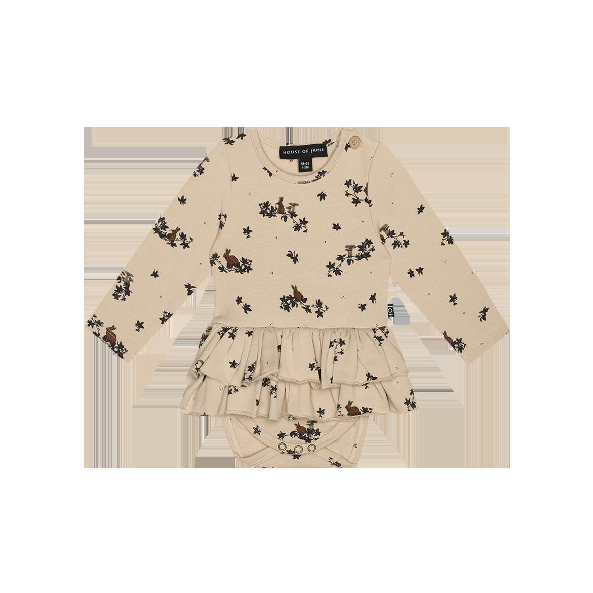 Ruffled Bodysuit Dress Oatmeal Forest