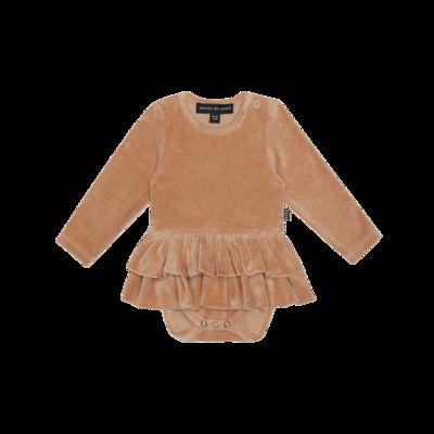 Ruffled Bodysuit Dress Terra Blush Velvet