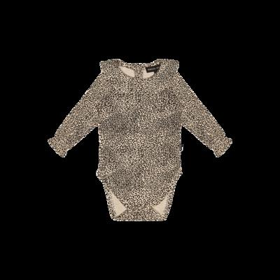 Rib Collar Bodysuit Charcoal Little Leopard