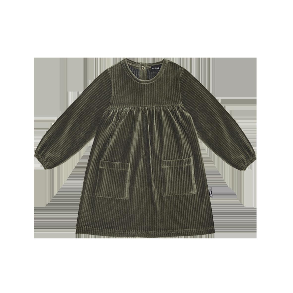 Pocket Dress Moss Rib Velvet