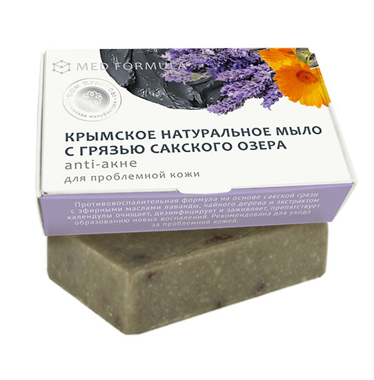Крымское натуральное мыло грязевое MED formula «Аnti-акне», Дом Природы
