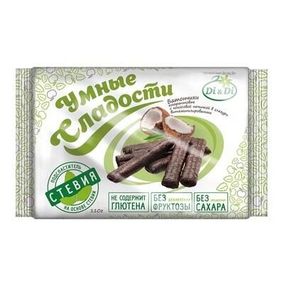 Батончики безглютеновые «Умные сладости» с кокосовой начинкой, в глазури, витаминизированные 110г
