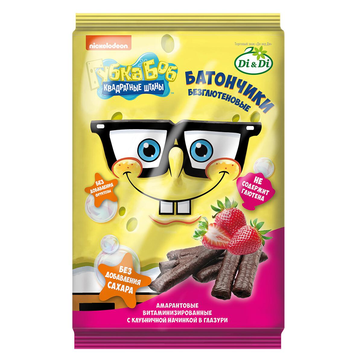 Батончики безглютеновые Губка Боб(Спанч Боб) с клубничной начинкой, витаминизированные 110г