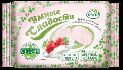 Зефир «Умные сладости» со стевией «Клубника со сливками» 150г