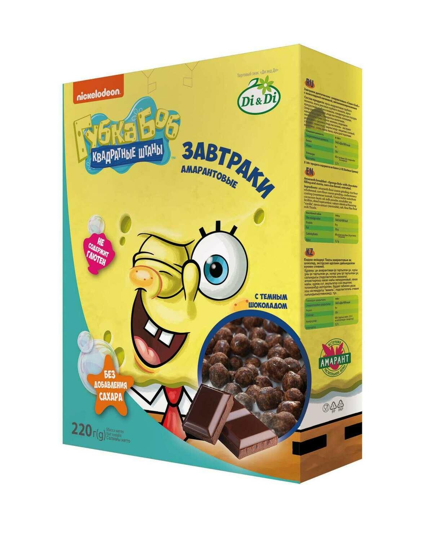 Завтраки амарантовые Губка Боб в глазури 220г