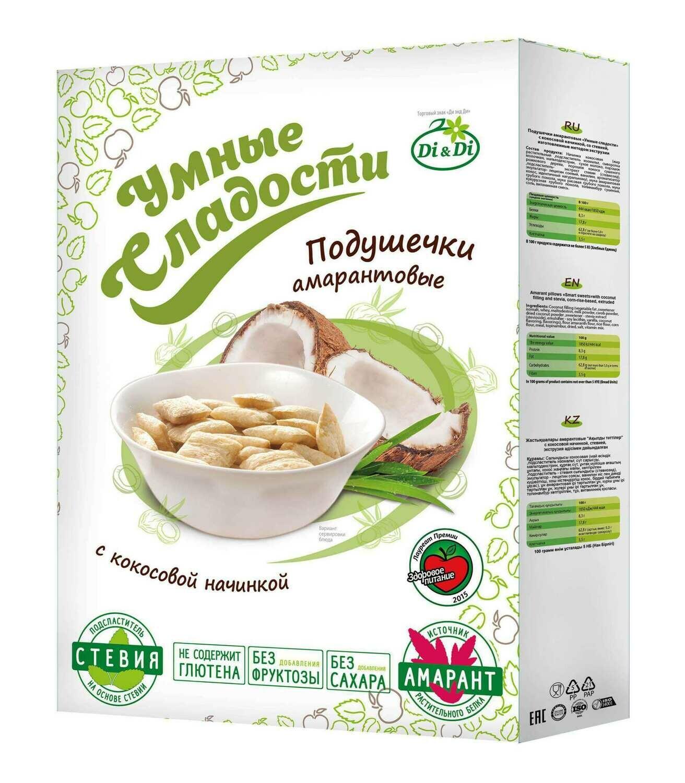 Подушечки без глютена «Умные сладости» с кокосовой начинкой со стевией 220г
