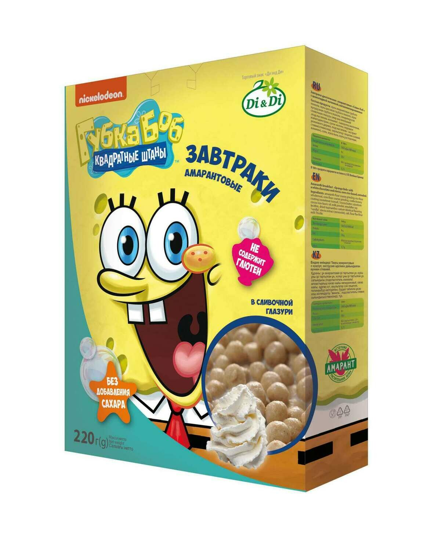 Завтраки амарантовые Губка Боб в сливочной глазури 220г