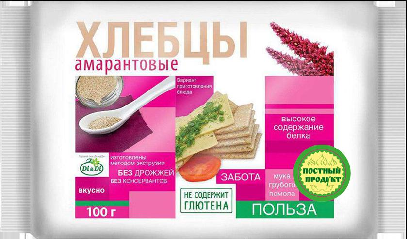 Хлебцы без глютена амарантовые 100г