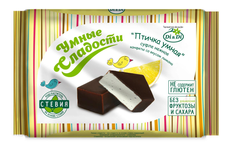 Конфеты «Птичка Умная» суфле нежное со вкусом лимона, 215г