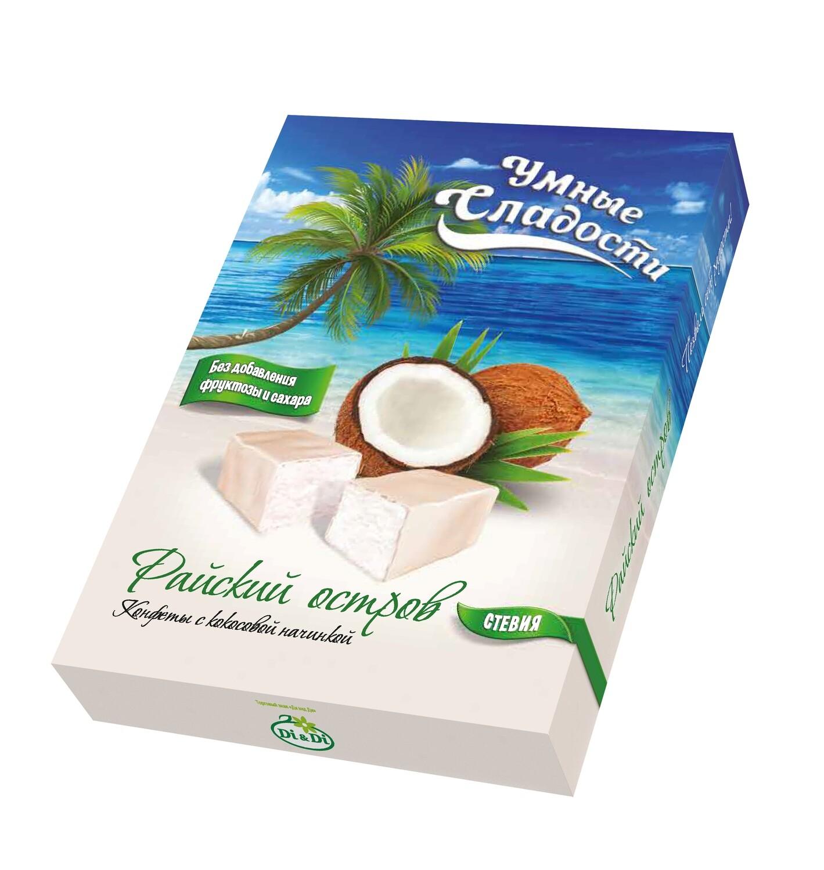 Конфеты «Умные сладости» с кокосовой начинкой «Райский остров» 90г