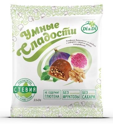 Конфеты «Умные сладости» инжир с грецким орехом в шоколадной глазури 210г