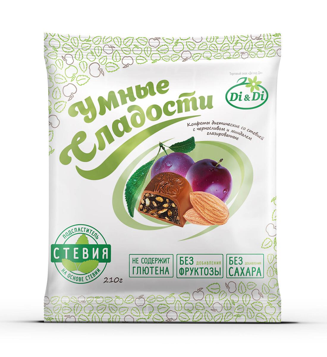 Конфеты «Умные сладости» чернослив с миндалем в шоколадной глазури 210г