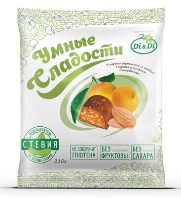 Конфеты «Умные сладости» курага с миндалем в шоколадной глазури 210г