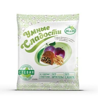Конфеты «Умные сладости» чернослив с грецким орехом в шоколадной глазури 210г