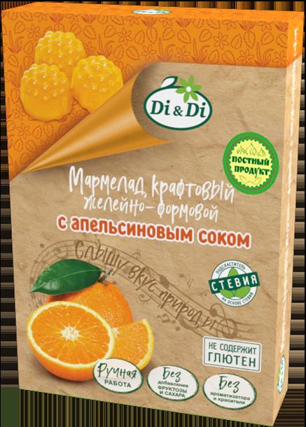 Мармелад крафтовый желейно-формовой с апельсиновым соком «Di&Di» вес 155±5 г