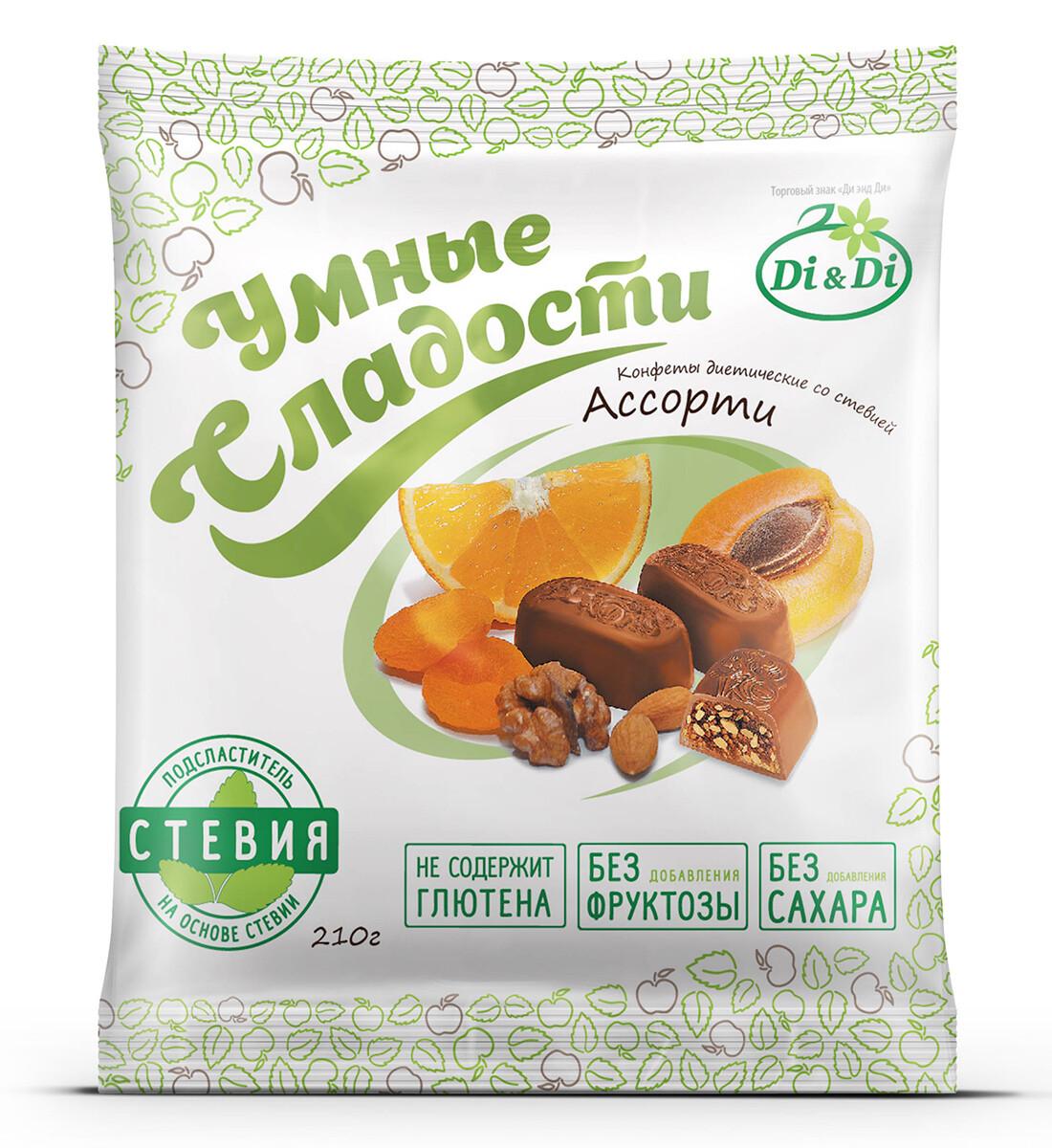 Конфеты «Умные сладости» курага с грецким орехом в шоколадной глазури 210г