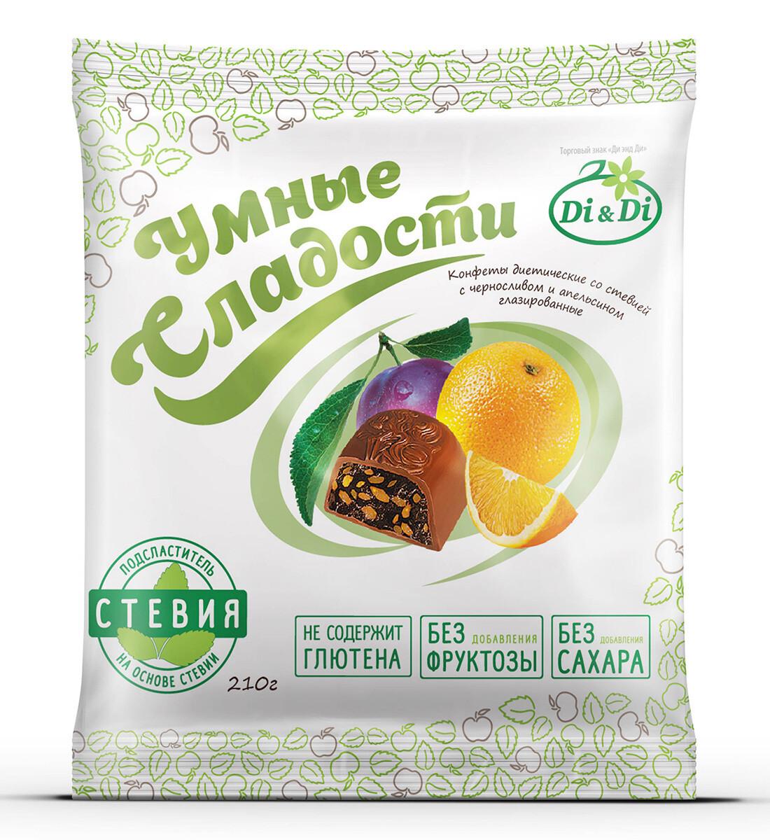 Конфеты «Умные сладости» чернослив с апельсином в шоколадной глазури 210г
