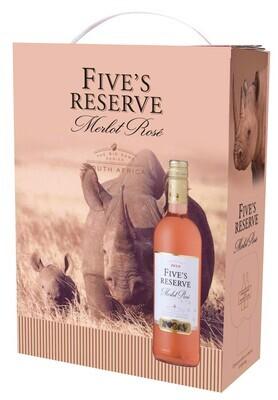 Five's Reserve Merlot Rosé 3L Bag in box