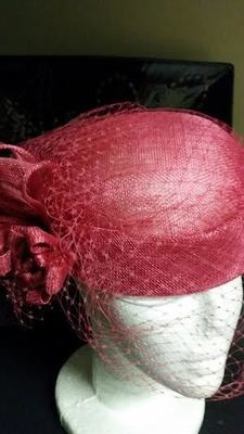 Hot Pink Pillbox Hat with Veil