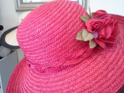 Small Straw Red Hat with Flowers