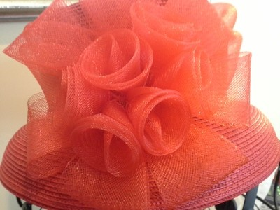 Small Brim Red Hat with Bow and Flowers