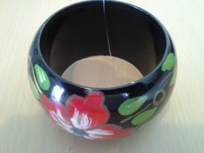 Black and Red Floral Bangle