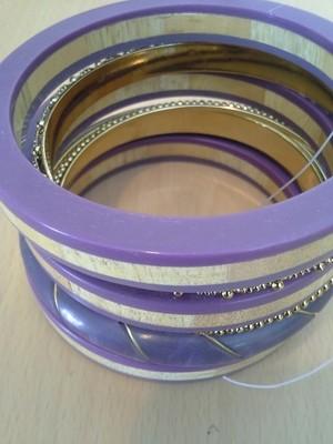 Lavender and Gold Bangle Set