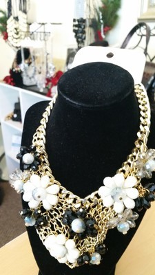 Floral Statement Necklace with Gold Accents