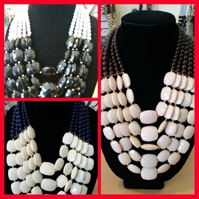 Long Statement Necklace in Brown, Black, and Blue
