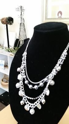 White Pearl and Silver Necklace Set