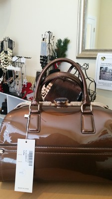 Dark Bronze Patent Leather Handbag with Gold Accents