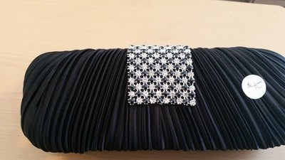 Small, Oblong Satin Clutch with Diamond Accents
