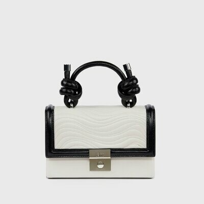 BEHNO MARY BAG MINI QUILTED COMBO ECRU/BLACK