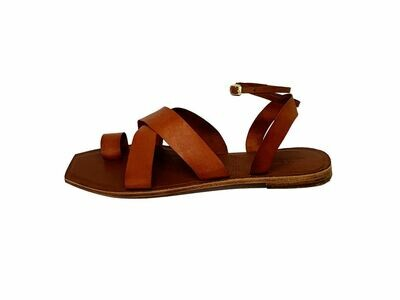D'Arce Story Crossover Sling Back Leather Sandals in Cognac (Size 39)