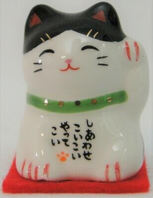 "Maneki Neko 1"" Figurine (White w/ 2 black ears)"