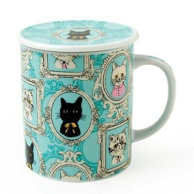Portrait Cat Lidded Mug - Blue C4180B