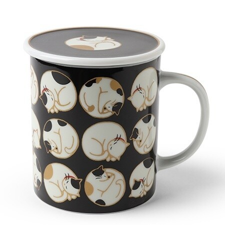 Sleepy Cat Lidded Mug - Black C4442C