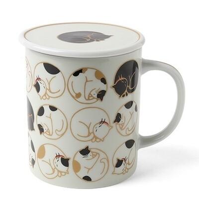 Sleepy Cat Lidded Mug - White C4442A