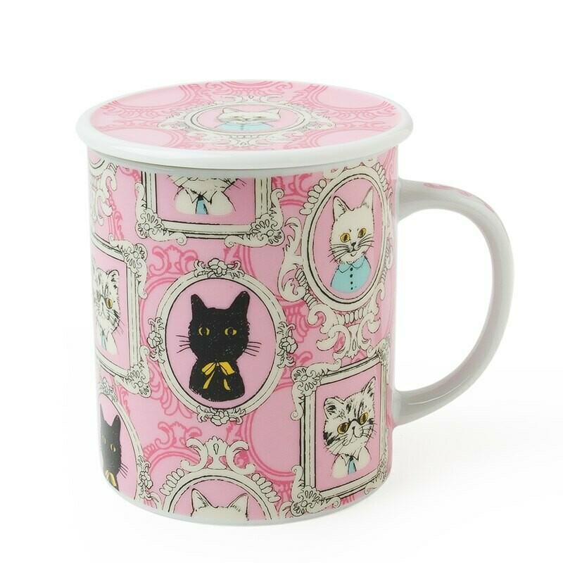 Portrait Cat Lidded Mug - Pink C4180A