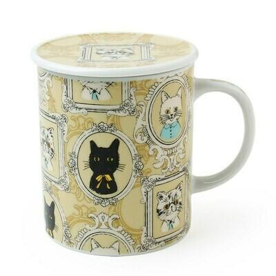 Portrait Cat Lidded Mug - Yellow C4180C