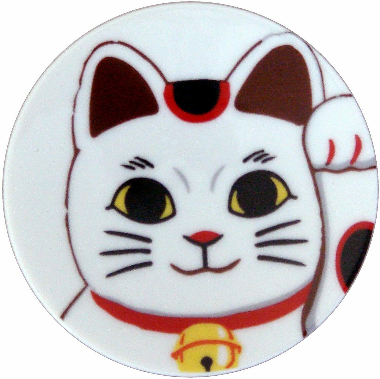 Small Plate Maneki Cat White - 21710