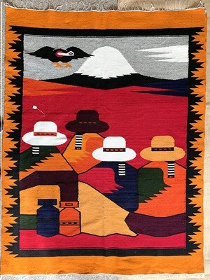 Large Woven Rug from Ecuador