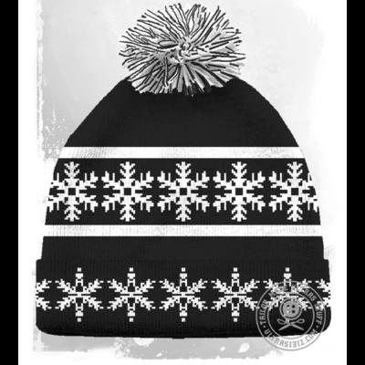 Fulhamish Black / White Snowflake Beanie