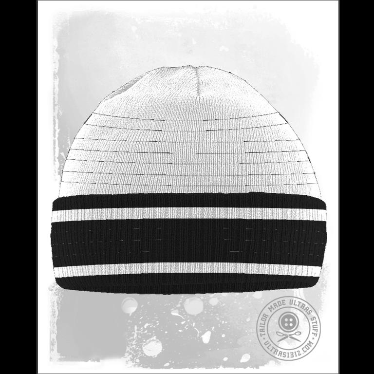 Fulhamish White / Black Striped Beanie