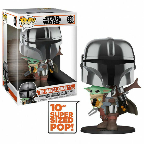 Funko Pop! The Mandalorian With the Child 10'' (Super Sized POP!) Cromado - Star Wars