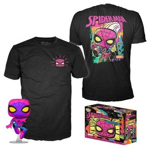 Funko Pop! Spider-Man (Black Light) + Camiseta Exclusiva