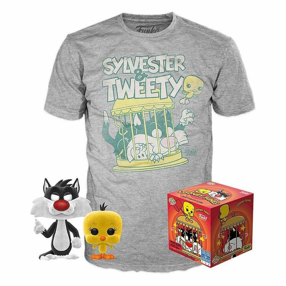 Funko Pop! Silvestre y Piolin Flocked + Camiseta Exclusiva