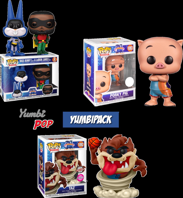 Funko Pop! Yumbipack triple Space Jam 2 - Taz (Flocked), Porky y 2-pack Lebron & Bugs Bunny
