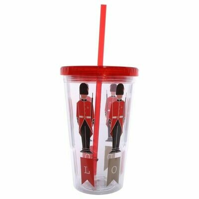 London Guardsman Double Walled Tumbler With Straw