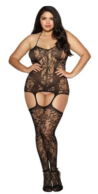 Lace and Opaque Seam Garter Dress - Queen Size - Black